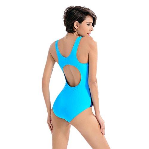 SZH YIBI Señora bikini traje de baño conjoined profesionales de moda deportivas señoras traje de baño de alta elasticidad Blue