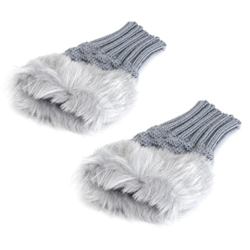 [Mosunx(TM) Women Warm Winter Faux Rabbit Fur Wrist Fingerless Gloves Mittens (Gray)] (Costume Design For Rabbit Hole)
