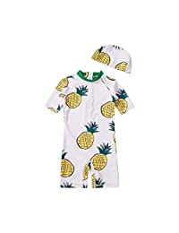 Heima Catrin Baby Toddler Boys' 3-Piece Swimsuit Set Dinosaur Bathing Suit Trunk and Rashguard with Hat
