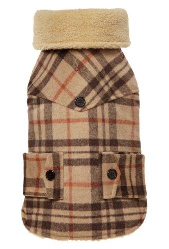 Fab Dog Americana Classics Shearling Lined Wool Plaid Dog Jacket, Camel, 14″ Size 14-Inch, My Pet Supplies