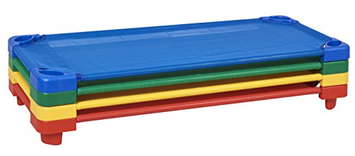ECR4Kids Childrens Naptime Cot, Stackable Daycare Sleeping Cot for Kids, 52 L x 23 W, Assembled, Assorted Colors (Set of 4)