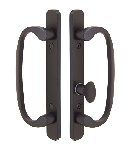 Embassy Solid Brass Handle Set with Mortise Lock (Non-Keyed) for Sliding Glass and Patio Doors in Oil Rubbed Bronze, 1-3/4