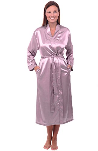 Silk Kimono Dress (Alexander Del Rossa Womens Satin Robe, Long Dressing Gown, XL Wisteria (A0755WSTXL))