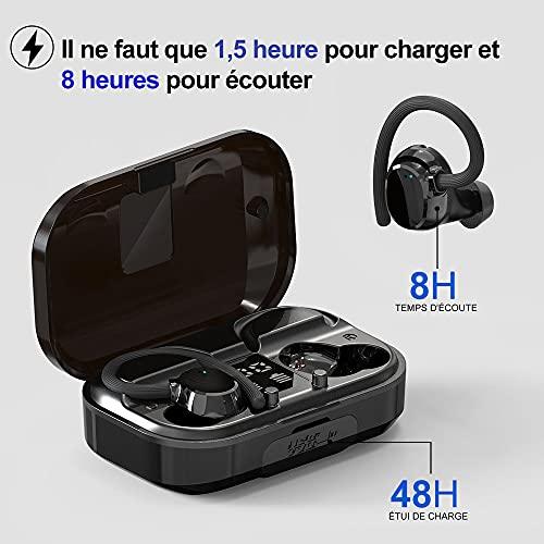 Judneer Écouteurs Bluetooth, Sport IPX7 Étanche Écouteur sans Fil, Casque Bluetooth 5.0 Écouteur Sport sans Fil, Hi-FI Stéréo 56 Heures avec Micro Boîte de Charge Oreillette pour Jogging Gym Bureau