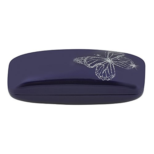 OptiPlix Hard Clamshell Glasses Case - Blue Durable Protective Eyeglass Holder with Shiny Gloss Finish and Sparkly Butterfly Design