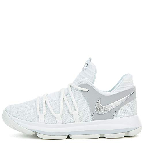 NIKE Kids KD X Pre-School Basketball Shoe 13c white chrome pure platinum 918364 100