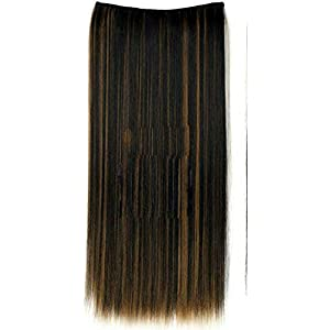 D-DIVINE Women 22 Inch 5 Clip Straight Hair Extension (Highlighter)