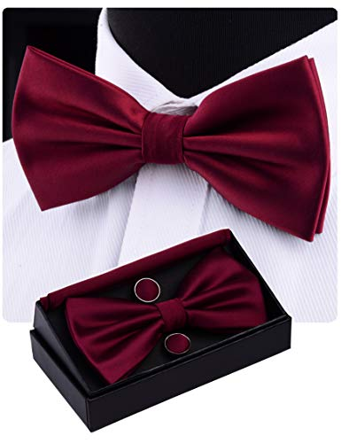 (GUSLESON Mens Maroon Wedding Bow tie Double Fold Pre-tied Bowtie and Pocket Square Cufflink Set (0570-01))