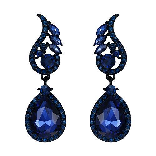 (Flyonce Rhinestone Crystal Boho Style Floral Leaf Teardrop Pierced Dangle Earrings Navy Blue)