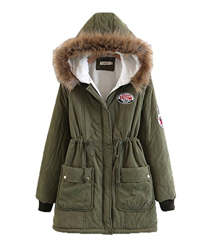 Coat Imbottitura Casual Ladies Cappuccio Giacca Con Parka Verde Warm Women Winter Bigood YfCwSfq