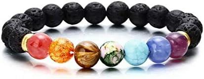 ChicJ&Y Pulsera de Cuentas de 7 Chakras Hecha de Piedras Lava, Pulsera de energía para Hombres y Mujeres