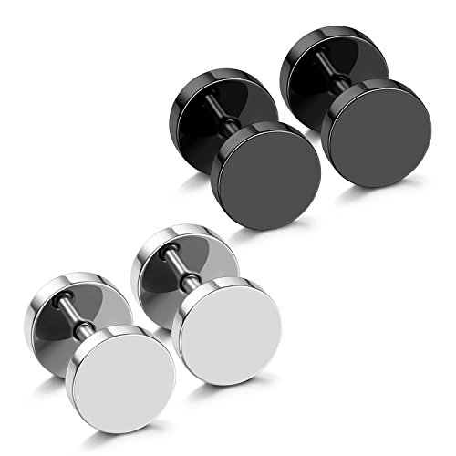 aux Gauges Plugs Earrings for Men Stainless Steel Dot Disc Studs Circle Flat Back Cheater Tunnel Dumbbell Earrings Women(18 Gauges,2 Pairs,3mm-14mm,Black and Silver) ()