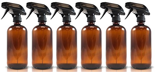 16oz Amber Glass Spray Bottles (6 Pack), W/ Heavy Duty Mist and Stream Sprayer (Glass Spray Bottles For Cleaning compare prices)