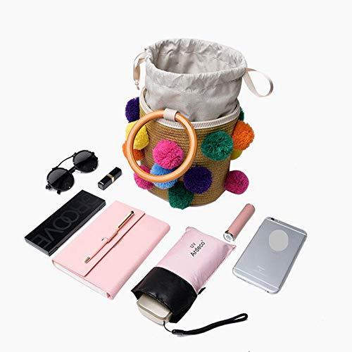Mano Asas 3 de Hechos Las la Bolsas la PUWEN de la Bolsos de Bolso Mujeres Pajita de Tela Color para de 1 a Las Playa Rota de qC5RX5