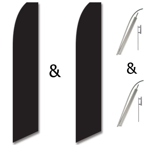 Twin Pack Swooper Flags /& Pole Kits Black Solid Plain Color