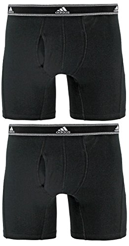 (adidas Men's Relaxed Performance Stretch Cotton Boxer Briefs Underwear (2-Pack), Black/Black, Medium)