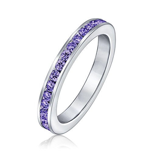 Purple Cubic Zirconia Stackable CZ Channel Set Eternity Band Ring For Women Simulated Amethyst 925 Sterling Silver