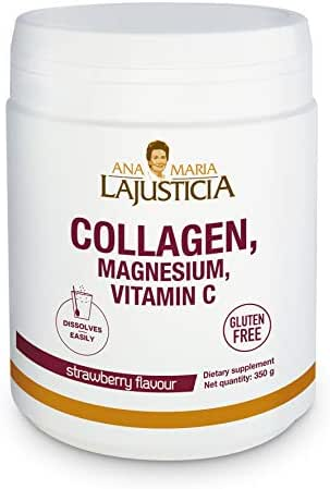ANA MARIA LAJUSTICIA Collagen with Magnesium and Vitamin C Strawberry Flavor, 350 G