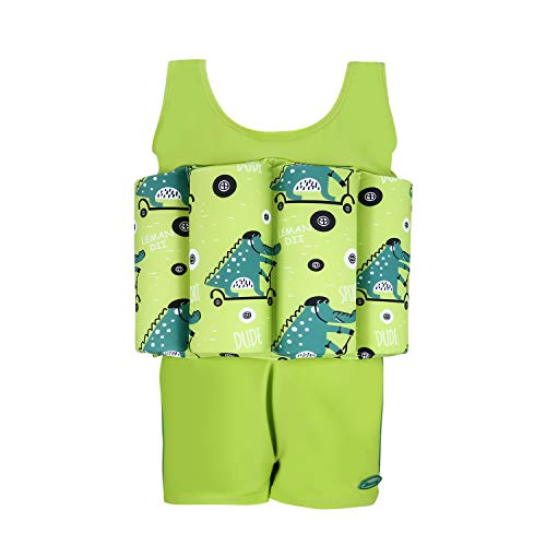 (Wowelife Float Suit Baby Upgraded One-Piece Buoyancy Swimsuit with Arm Bands Learn to Swimming for Boys and Girls, 1-3 Years (Green, S(Chest 11.5,Length 16.5inch)))