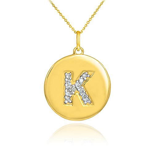 "14k Yellow Gold Letter ""K"" Diamond Disc Initial Pendant Necklace (18 Inches)"