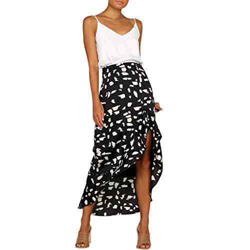 RAINED-Women Elastic Waist Long Skirt Solid Pleat Skirt Vintage Loose Maxi Skirt Casual Flowy Dress Knee Length - Cooper Vintage S Oxford