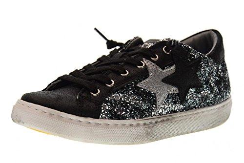 zapatillas GRIS bajas de 2 BRILLO NEGRO zapatos mujer Grigio de glitter deporte 2SD 1659 Nero STAR awqHp