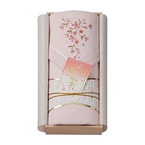 ギフトにもぴったりな箱入りのシルク混綿毛布。 王華 木箱入さくら刺繍シルク混綿毛布 OK1708 ピンク 〈簡易梱包 B07RL9J6GZ