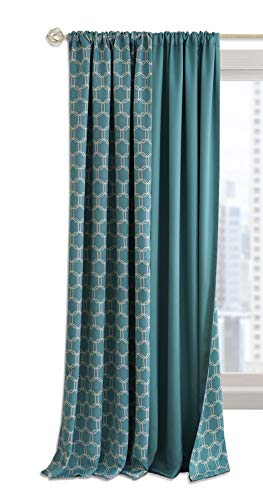 - Ben & Jonah PrimeHome Collection Prelude Reversible Blackout Rod Pocket Curtain Panel-50x84-Turquoise, Turquoise