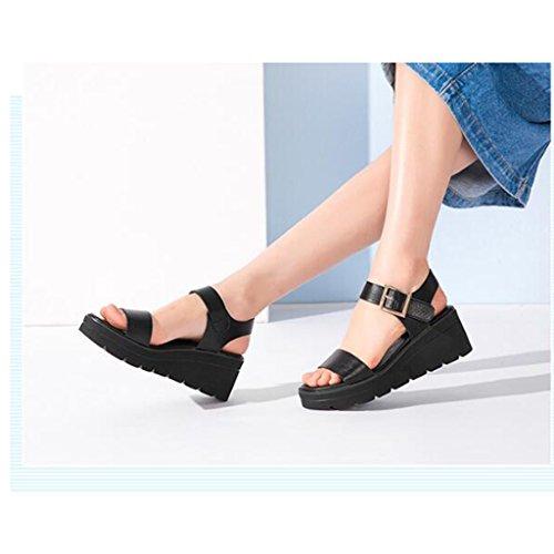 Jinsen Black Muffin Tacón Sandalias Bottom Alto Student Zapatos Verano Casual De vxfqwXvr
