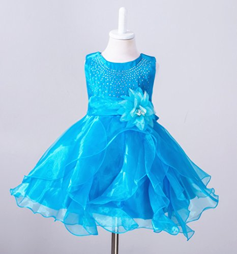 Ruffle vestido Azul Boda Floración Girl Cumpleaños Organza Baby ZAMME qRBXwxUZ