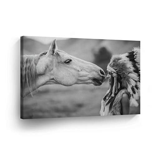 Handmade Native American Indian Horse - SmileArtDesign Indian Wall Art Native American Woman Looks at White Horse Canvas Print Home Decor Decorative Artwork Gallery Wrapped Wood Stretched and Ready to Hang -%100 Handmade in The USA - 8x12