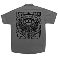 Hot Leathers Brass Knuckles Mechanic's Work Shirt (Charcoal, Large)