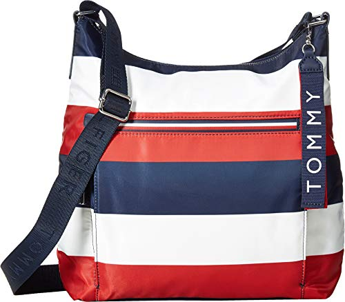 (Tommy Hilfiger Women's Lani Hobo Corporate Stripe Navy/Natural One Size)