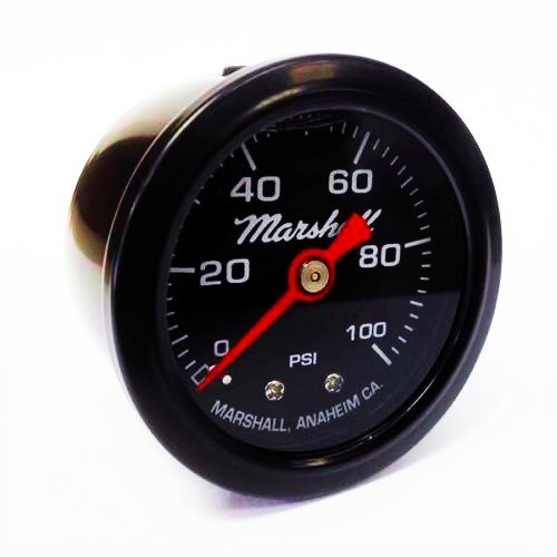 Marshall Instruments LBB00100 Liquid Filled Fuel Pressure Gauge Black