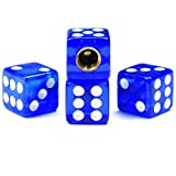 Dreamer Car Tire Valve Stem Caps Crystal Dice Style Universal(blue,4pcs)