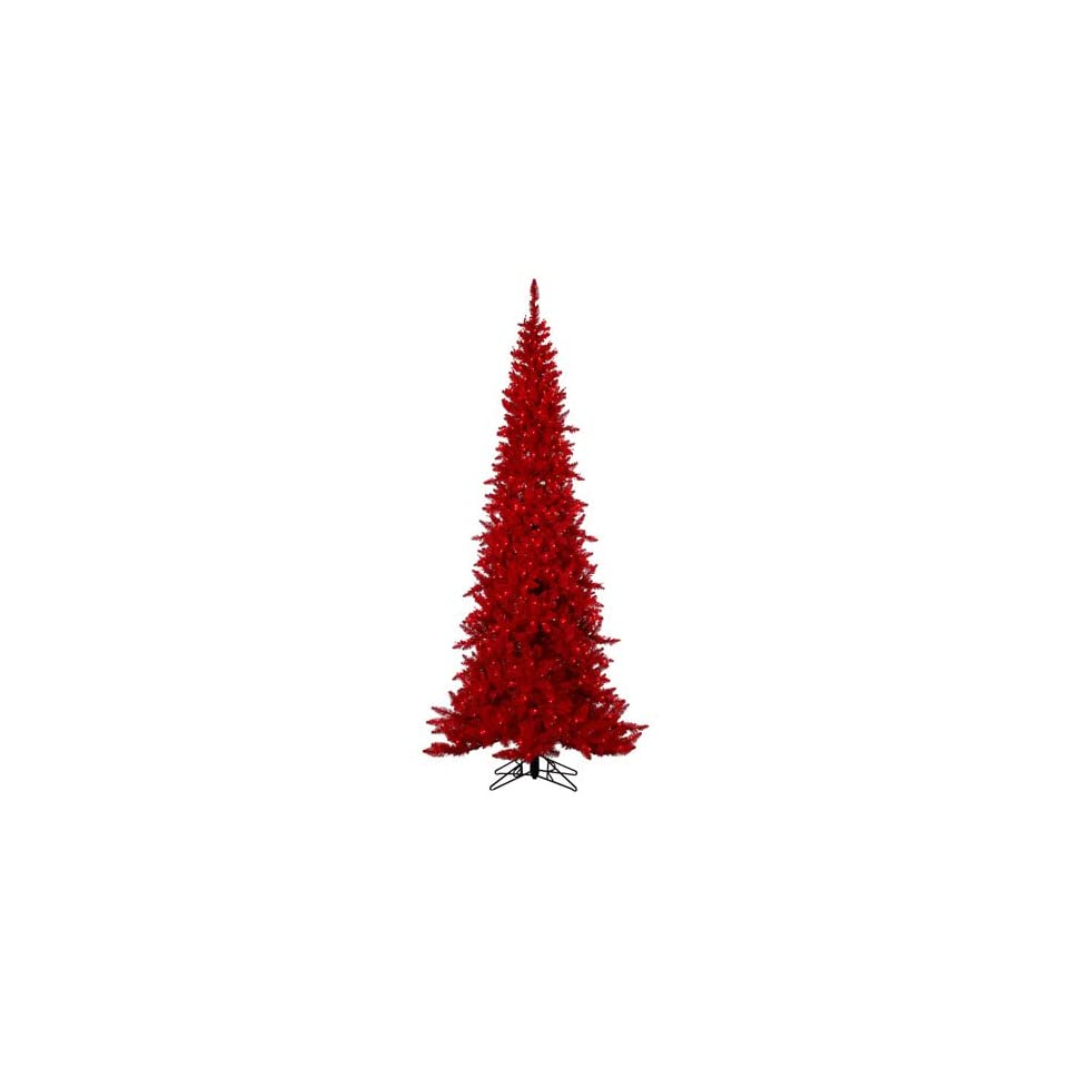 7.5 Pre Lit Red Slim Ashley Spruce Artificial Christmas Tree