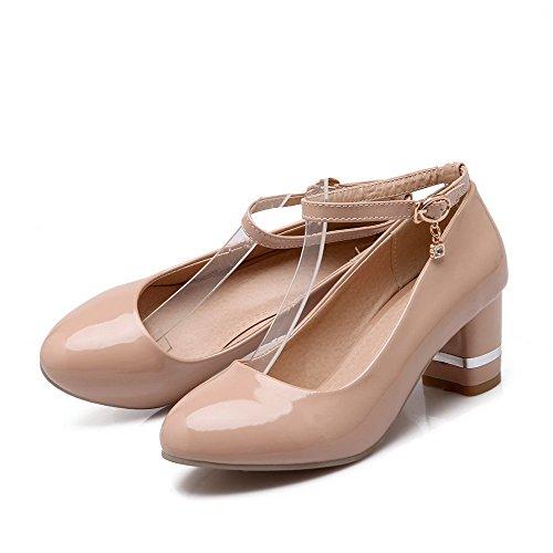 Odomolor Women's PU Solid Buckle Round-Toe Kitten-Heels Pumps-Shoes, Apricot, 35