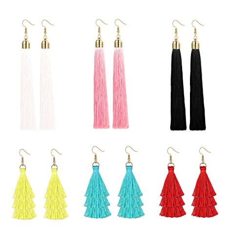 Milacolato 6 Pairs Long Tassel Tiered Thread Statement Tassel Earrings for Women Girls Dangle Fringe Drop Earrings Elegant Short by Milacolato
