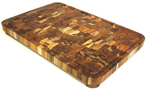 Mountain Woods Teak Cutting Board - Rectangle End Grain Butcher Block With Juice Groove And Feet(19 X 13 X1.5 in.)