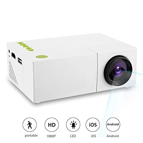 QianHui YG310 Mini Portable LCD Projector, Portable 1080P LED HDMI Devices Home Cinema Theater Pocket Video Projector for Party Game and Outside Camping