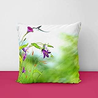 41WAZ4cYSnL. SS320 Flower & Birds Square Design Printed Cushion Cover