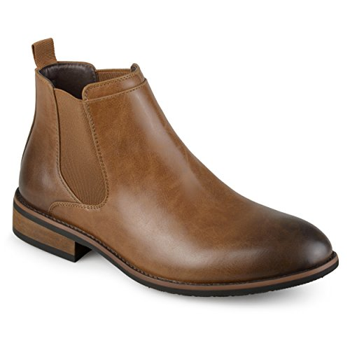 Image of Vance Co. Mens Faux Leather High Top Round Toe Chelsea Dress Boots