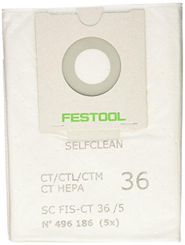 Festool 496186 SELFCLEAN Filter Bag for CT 36, Quantity 5 by Festool
