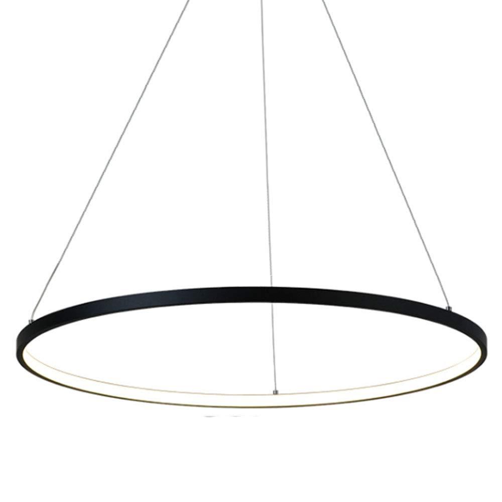 HONGOU LED-Pendelleuchte Schwarz Aluminium Rund Ring Design Hängeleuchte Deckenlampe Für Wohnzimmer Esszimmer Küche Esstisch Lampe,Natürliches Licht