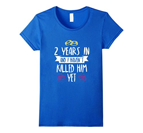 Womens 2nd Year Anniversary Gift Idea for Her - 2 Years In T Shirt Large Royal Blue