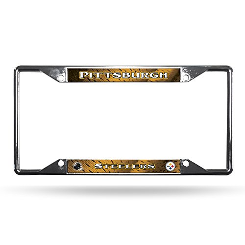 NFL Pittsburgh Steelers Chrome Plate Frame (Pittsburgh Silver Metal Steelers)