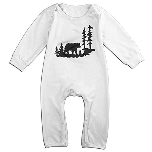 (UGFGF-S3 Woodland Bear Forest Long Sleeve Infant Baby Romper Jumpsuit Onsies 6-24 Months Bodysuit)