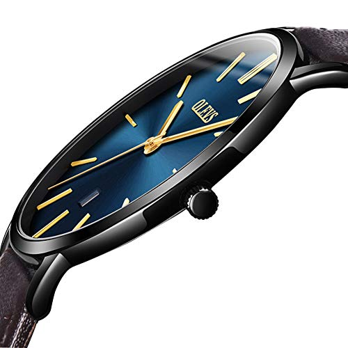Casual Watches for Men,Mens Brown Leather Watch,Luxury Sport Quartz Simple Watch Water Resistant Minimalist Ultra Thin Wrist Watch Analog Ultra Black Case 2018,Blue Dial