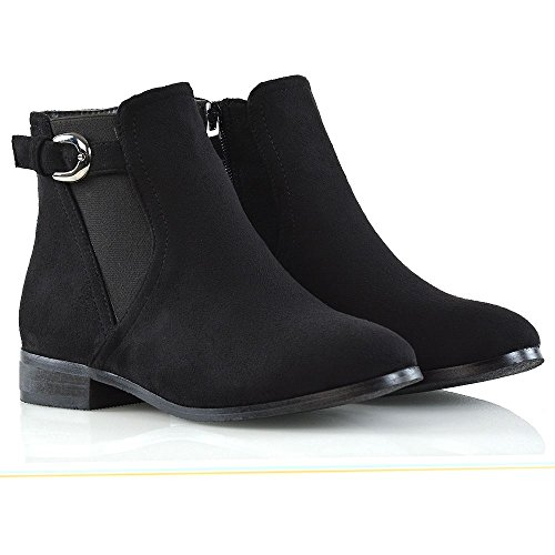 8 GLAM Black ESSEX Ankle 3 Elasticated Boots Buckle Booties Suede Faux Ladies Biker Chelsea Gusset Shoes Womens Size Casual 4qfqwWdZ