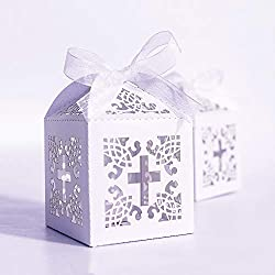 "YOZATIA 50PCS Cross Favor Boxes, 2.2""x2.2""x2.2""Baptism Favor Boxes with 50 Ribbons, for Party Birthday Christening Favor (Cross)"